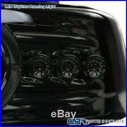 99-02 Silverado 00-06 Tahoe Smoke LED DRL Halo Projector Headlights+Bumper Lamps