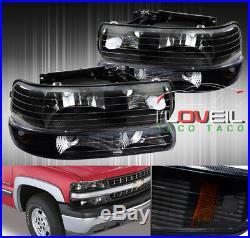 99-02 Silverado 00-06 Tahoe Suburban Black Headlights WithBumper Signal Lamps Set