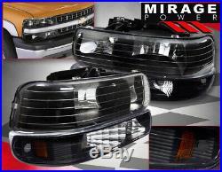 99-02 Silverado 1500 2500 Black Head Lights With Bumper Turn Signal Lamps Amber