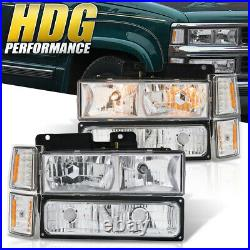 Amb Signal Chrome Driving Head Light Lamp For 94-98 Chevy C10 C/K 1500 2500 3500