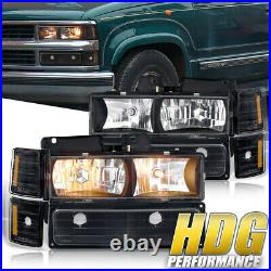 Amber Signal Blk Driving Head Light Lamp For 94-98 Chevy C10 C/K 1500 2500 3500