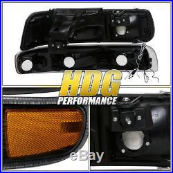 Amber Turn Signal LED DRL Blk Head Light Lamp For 99-02 Chevy Silverado Suburban