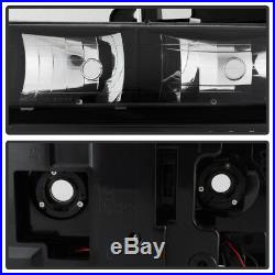 Black 1994-1998 Chevy Silverado C10 C/K Tahoe Suburban Headlights +Corner+Bumper