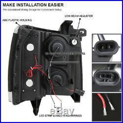 Black 2007-2014 Chevy Silverado 1500 2500 3500 Halo+LED DRL Projector Headlights