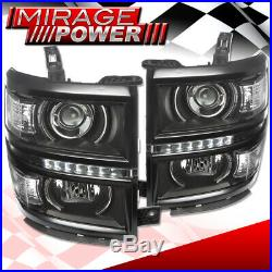 Black Drl Led Projector Head Lights Signal Lamps Clear For 14-15 Chevy Silverado