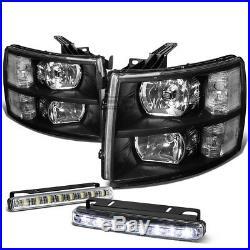 Black Headlight+clear Turn Signal Lamp+led 8 Smd Fog Light For 07-13 Silverado