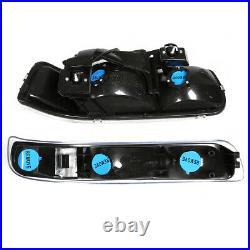 Black Headlight+clear Turn Signal+bumper+chrome Fog Light For 99-02 Silverado