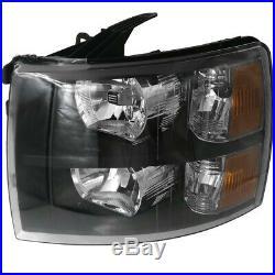 Black Housing Clear Lens Amber Reflector Headlights For 07-14 Silverado 1500