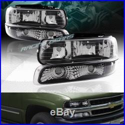 Black Housing Headlights+bumper Lamps Fit 00-06 Chevy Tahoe Suburban 1500 2500