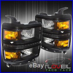 Black Housing Led Head Lights Lamp Turn Amber Corners 2014 -2016 Chevy Silverado