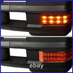 Black Manual LED Amber Turn Signal Side Towing Mirror for Sierra Silverado 07-14