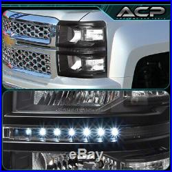 Black Replacement Led Headlights Clear Signal Lamps For 14 15 Chevy Silverado