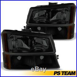 Black Smoke 2003-2006 Chevy Silverado Avalanche Headlights+Bumper Lamps 4Pc Set
