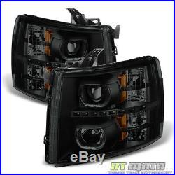 Black Smoke 2007-2013 Chevy Silverado 1500 2500 3500HD Headlights LED Halo Lamps