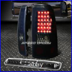 Black Smoked Led Tail+3rd Brake&cargo Light Set For 99-03 Chevy Silverado/sierra