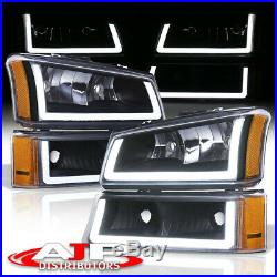 Blk Amber Corner LED DRL Bumper Head Lights Lamps LH +RH For 2003-2007 Silverado