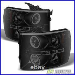 Blk Smoke 2007-2013 Chevy Silverado 1500 LED CCFL Projector Headlights Headlamps