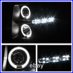Blk Smoke 2007-2014 Chevy Silverado 1500/2500/3500 LED Halo Projector Headlights