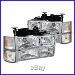 C10 Chevy Suburban Tahoe Silverado Headlights+ Turn Signal+ Corners Chrome Amber