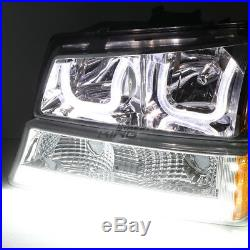 CHROME AMBER LED HALO HEADLIGHT WithLED DRL+TURN SIGNAL FOR 03-07 SILVERADO(L+R)