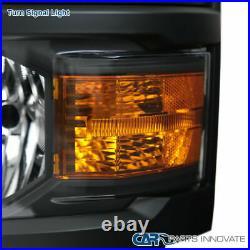 Chevy 14-15 Silverado 1500 Pickup Black Headlights Head Lights Lamps Left+Right