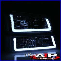 Chrome Clear LED DRL Smoke Bumper Head Lights Lamp LH+RH For 2003-2007 Silverado