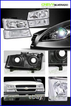 Chrome Headlights WithParking Bumper Turn Signal Lamps Nb For 03-06 07 Silverado