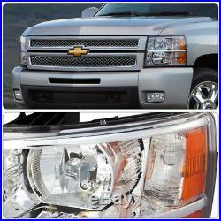 Chrome Housing Clear Lens Amber Reflector Headlights For 07-14 Silverado 1500