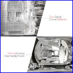 Chrome Housing Headlight Clear Turn Signal Reflector for 07-13 Chevy Silverado