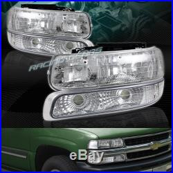 Chrome Housing Headlights+bumper Lamps Fit 99-02 Chevy Silverado 1500 2500 3500