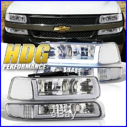 Clear Turn Signal LED DRL Chrome Driving Head Light Lamp Set For 99-02 Silverado