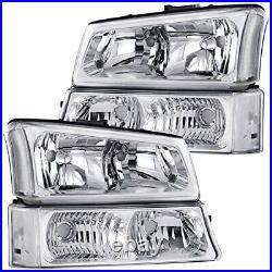 Crystal Headlight with Bumper Light Chrome For 03-06 Silverado Avalanche
