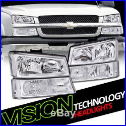 Euro Chrome Headlights WithParking Bumper Turn Signal Lamps Nb 03-06 07 Silverado