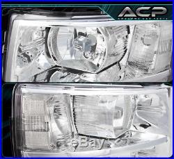 Euro Chrome Housing Clear Lens Reflector Headlights For 07-14 Silverado 1500