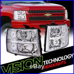 Euro Chrome Housing Headlights Parking Turn Signal Lamp NB 07-14 Chevy Silverado