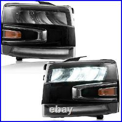 FULL LED Reflector Headlights with Sequential Turn For 07-13 Chevrolet Silverado