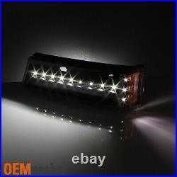 Fit 03-06 Chevy Silverado Avalanche Black Headlights+LED Bumper Turn Signal Lamp
