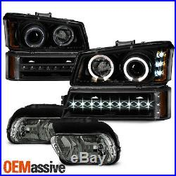 Fit 03-06 Silverado LED Projector Headlights Bumper Lights + OE Fog Lamps -Smoke