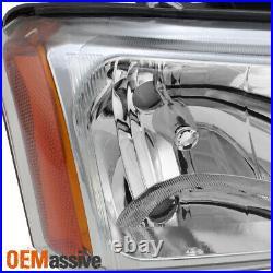 Fit 2003-2006 Chevy Silverado Avalanche Headlights + LED DRL Bumper Signal Light