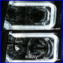 Fit 2007-13 Silverado 1500 2007-14 2500HD 3500HD LED Tube Projector Headlights