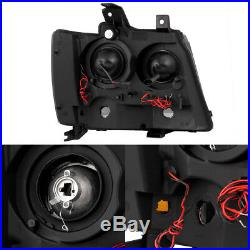 Fit 2007-2014 Suburban Tahoe Avalanche Black Smoked LED Projector Headlights
