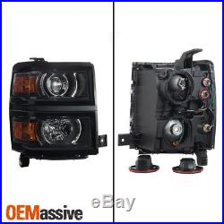 Fit 2014-2015 Chevy Silverado 1500 Pickup Black Projector Headlights Lamp L+R