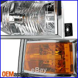 Fit 2014-2015 Chevy Silverado 1500 Pickup Clear Projector Headlights Lamp L+R