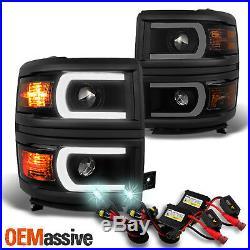 Fit 2014-2015 Silverado 1500 Smoked LED DRL Projector Headlight + Slim 8000K HID