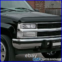 Fit 88-99 Chevy C10 C/K Tahoe Silverado Clear LED Bumper Lights Parking Lamps