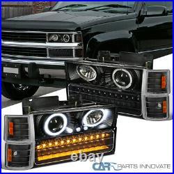 Fit 94-98 C10 Silverado Black Halo Projector Headlights+LED Bumper+Corner Lamps