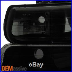 Fit 99-02 Chevy Silverado 00-06 Tahoe Suburban Black Smoked Headlights+Bumper