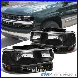 Fit 99-02 Silverado 00-06 Suburban Tahoe Black Headlights+Bumper Signal Lamps