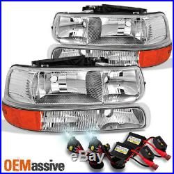 Fit 99-02 Silverado 00-06 Suburban Tahoe Headlights withBumper Signal + 6K HID