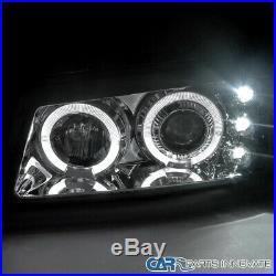 Fit Chevy 03-07 Silverado Avalanche Clear Halo Projector Headlights+Bumper Lamps